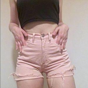 Pastel Pink High Waisted Cutoffs Vntg Guess Shorts